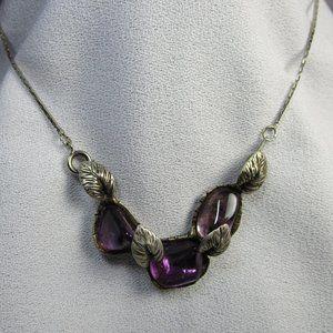 Vintage Uncut Amethyst Pendant Necklace